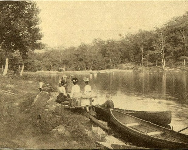 Ladies canoeing at the turn of the last century at what is now Lake Lucerne.