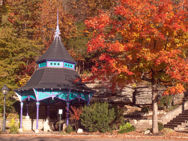 Eureka Springs Gazebo with fall leaves.